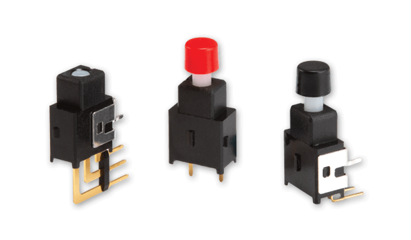 Miniature pushbutton switches target tight spaces